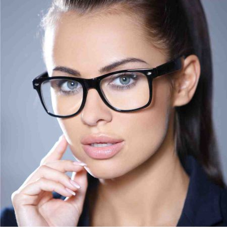 Under make-up glasses for vision - woman looks seductively