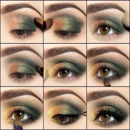What is the vertical technique of eye makeup?