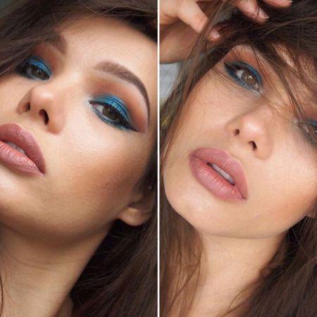 Eye makeup in blue colors