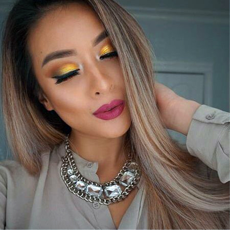 Eye makeup in golden colors