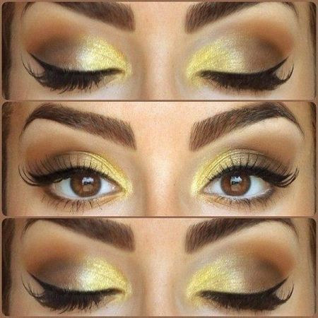 Make-up in gold colors and shades