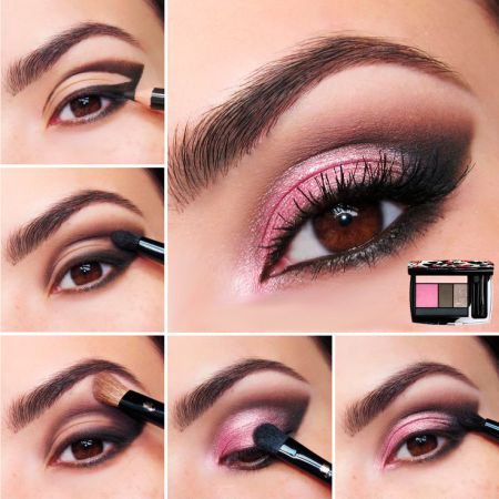 How to make Pink Eye Makeup? Make-up in Purple Shades