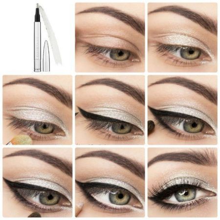 How to do makeup in shades of silver - technique