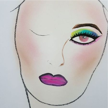 схема макияжа в стиле 80-х годов